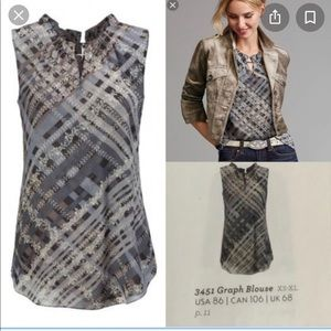 Cabi Graph Sleeveless Size Small Blouse Style 3451